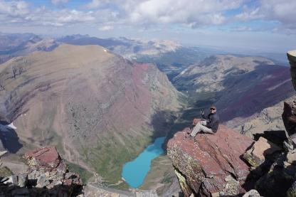 Atop Mt. Siyeh with Cracker Lake below